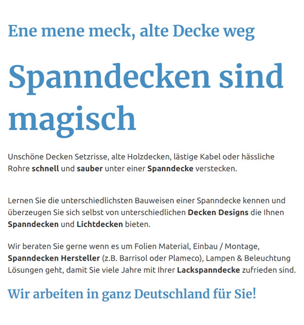 Spanndecken in  Remscheid
